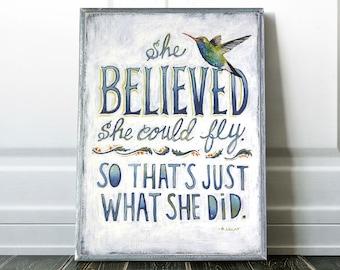 Hummingbird Art, Encouragement Gift, Inspiration Quote, Gift for Her, Gift for Niece, Bird Nursery Decor, Graduation gift, Daughter Gift