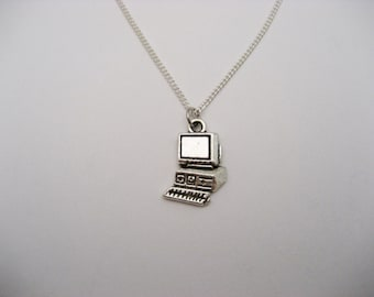 Computer Necklace, Science Necklace, Computer Jewelry, PC Necklace, Desktop Necklace, Computer Science, Jewelry Science Gifts