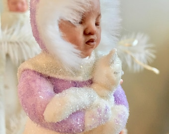 Snow Baby Ornament black baby glitter keepsake Christmas heirloom for child.