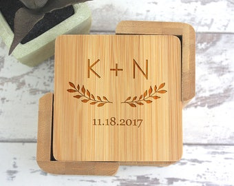 Wedding Gifts, Wedding Gift, Coasters, Square Coaster Set, Engraved Wood Coasters, Housewarming Gift, Bridal Shower Gift, Couple Gift WC100