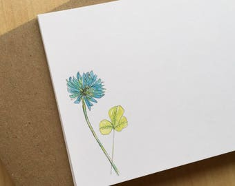 Watercolor Flat Note Stationery Set - Blue Clover Stationery - Weed Note Cards - Wildflower Stationery - Set of 8
