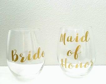 Bridal Party Stemless Wine Glasses Set l Maid of Honor l Bridesmaids l Bride l Bachelorette Party Gifts l personalized