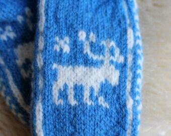 Knitted wool socks blue white deer scandinavian motif