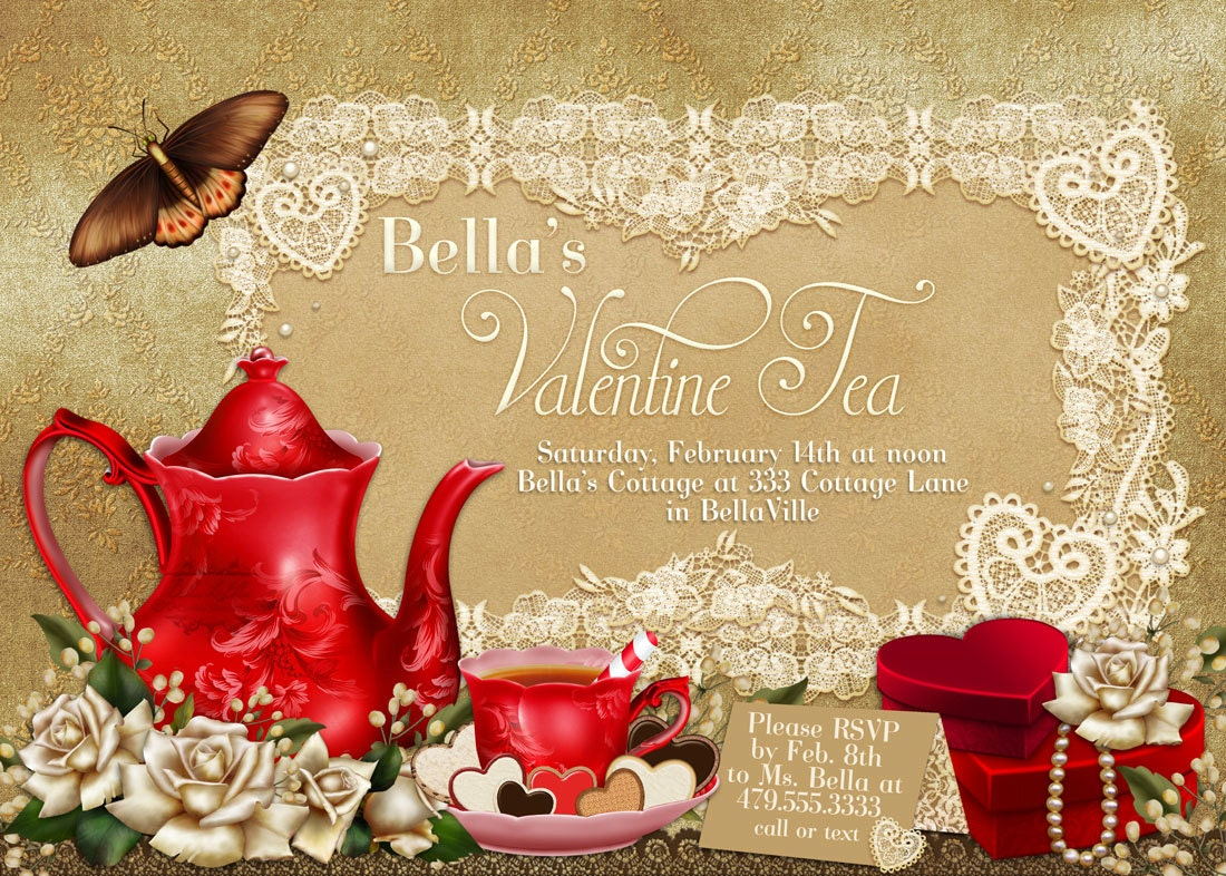 Modern Valentine Tea Party Invitations Festooning - Invitation Card ...