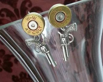 Annie 45 colt Sterling Bullet Jewelry Bullet Earrings