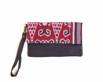 Indonesian Ikat Leather Clutch - Cherry Red