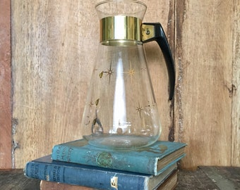 Vintage Atomic Gold Starburst Corning Heat-Proof Glass Coffee Carafe Mid Century