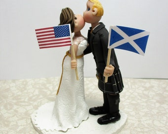 DEPOSIT for Custom made Polymer Clay Country Flags Wedding Cake Topper