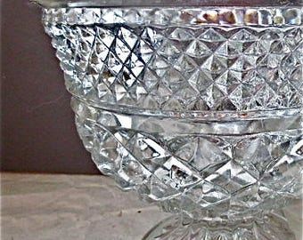 Anchor Hocking Wexford Pressed Glass Bowl - Footed with Scalloped Rim - EAPG Centerpiece