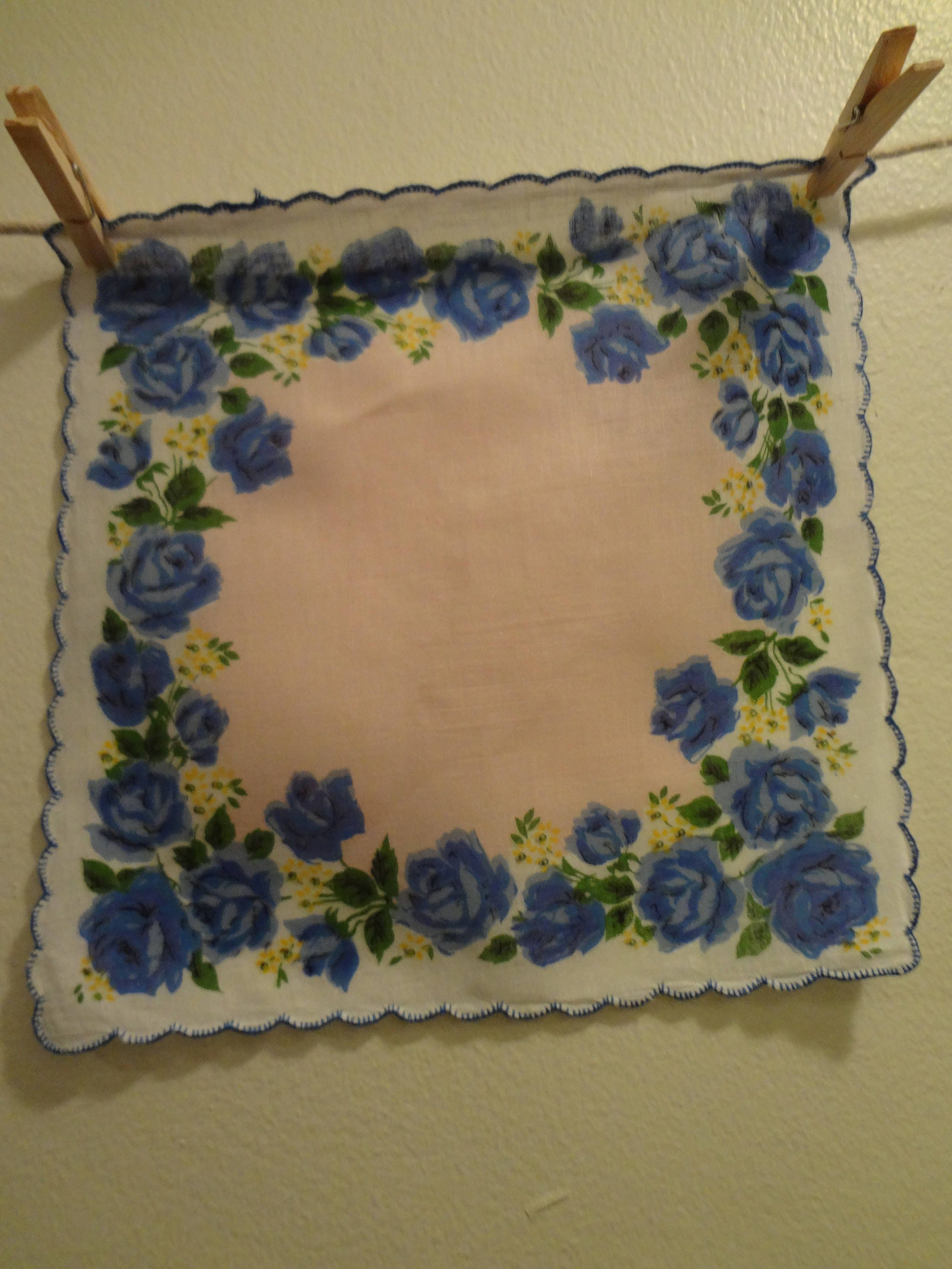 Vintage Hankie Linen White With Blue And Yellow Flowers With