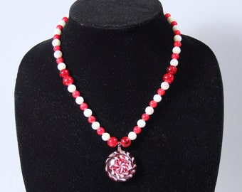 Necklace Bracelet Earrings Red White Glass Pendant Jewelry Set or by the piece  D.D.I. Exclusive  Ships Worldwide