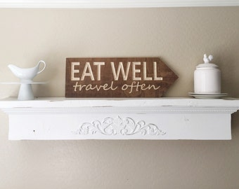 Eat Well Travel Often Wood Banner with Dark Stain Wall Home Decor