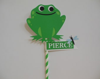 Frog Smash Cake Topper - Green and White - Personalized Child Party Decorations - Personalized Child Photo Prop - Gender Neutral Topper