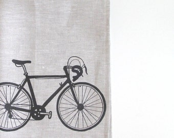 Linen Tea Towel - Road Bike - Choose your fabric and ink color