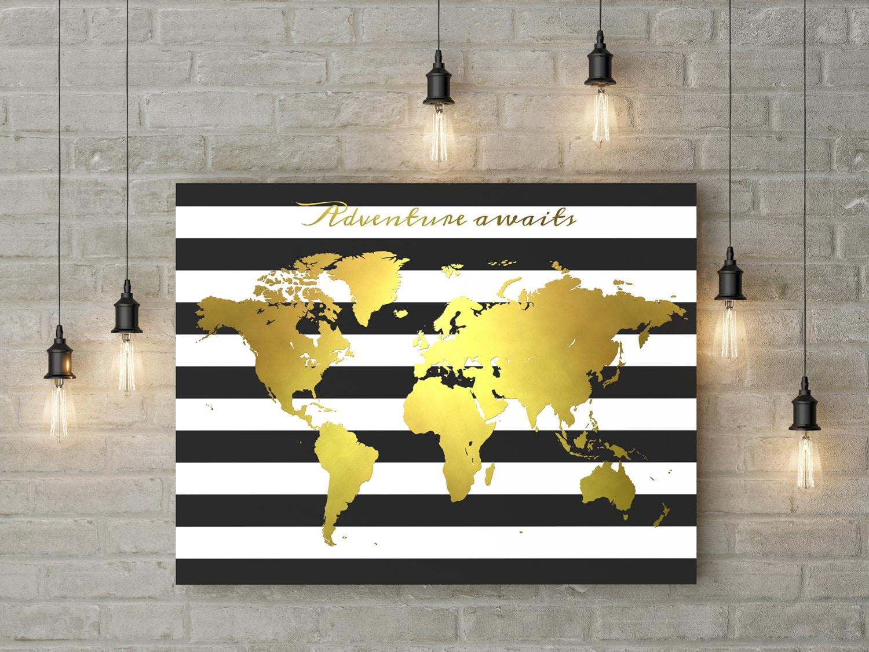 Printable World Map Adventure Awaits Black And White Stripes