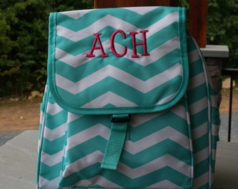 Girls Small Monogrammed Backpack Aqua Chevron Knapsack Personalized