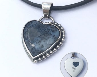 Black and White Heart Necklace, Dendritic Agate Stone, Adjustable Length Leather Cord, Hand Fabricated Sterling Silver, Romantic Gift