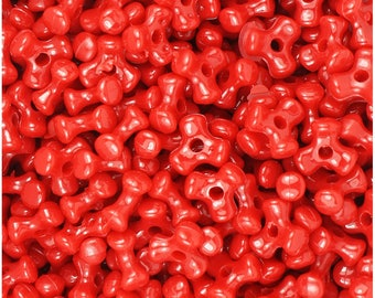 480 - 11MM Red Opaque Tri-Beads - a must have for your holiday craft/jewelry making