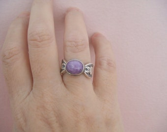 Vintage Sterling Silver Charoite Ring by Shube Dakota West Navajo Style Southwestern Ring Purple Gemstone Ring Size 5.75 or small 6