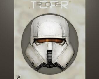 "Star Wars ""Solo"" Inspired ""Range Trooper Helm Series"" Artist Proof 11X14 Signed Art Herofied"