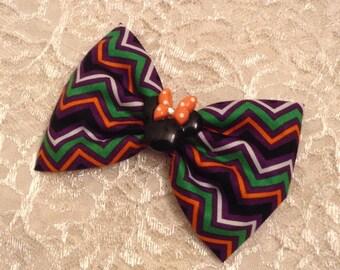 Halloween Minnie Chevron Fabric Hair Bow
