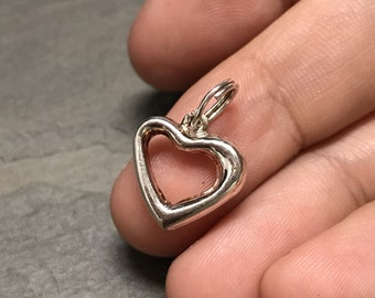 Vintage sterling silver heart shaped charm, 925 silver pendant