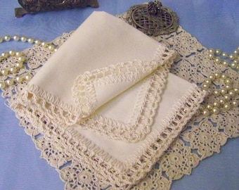 Lace Handkerchief, Hanky, Hankie, Hand Crochet, Lacy, Ladies, Embroidered, Personalized, Monogrammed, Bridal Party, Mother of the Bride