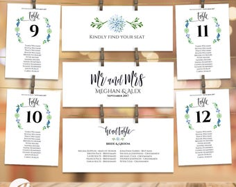 Seating Plan Wedding Template Hanging Seating Table Arrangement Seating Cards Chart with Table Numbers DIY Table Plan Greenery #PTL10_08_03