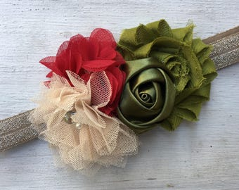 Christmas headband, red green and champagne headband, headband for girls, holiday headband, dressy headband, flower Christmas headband