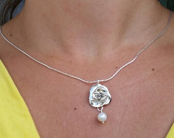 Flower Pearl Silver Pendant ,Handmade Sterling Silver Pendant ,Chandelier Pendant ,Bridal Pearl Pendant ,Rose Silver Pendant ,Mother's Day