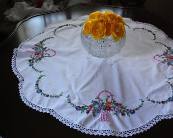 Vintage Round Tablecloth with Hand Embroidered Baskets with Flowers With A Crochet Border