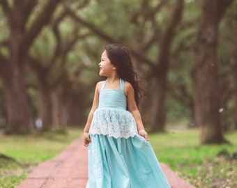 Blue Cinderella Princess Dress Costume for Girls Toddlers Linen Lace Flower Girl Maxi Dress Boho Rustic Junior Bridesmaid Dresses Evelyn