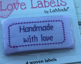 "Iron On Woven Labels, ""Handmade With Love"", Style 2554, Packaged Set of 4, Labels by LaMode, Labels to Personalize, Sewing, Crafts, Quilting"
