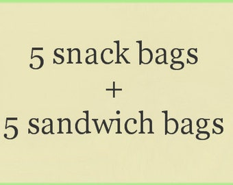 Reusable Snack and Sandwich Bag Combo 10-Pack You Pick The Print