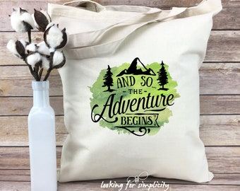 And So the Adventure Begins w/ Mountains and Trees Lightweight Tote Bag
