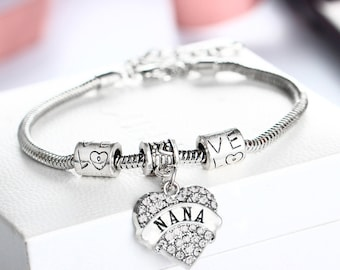 Nana Bracelet - Nana Charm Bracelet - Silver Chain Bracelet - Nana Gift - Nana Bracelet - Gift for Nana