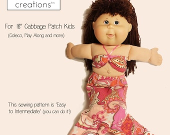 """Mermaid Outfit Doll Clothes Sewing Pattern for 18"""" Cabbage Patch Kid or Similar 18 inch Doll Easy Downloadable Digital PDF 27 page E-Book"""