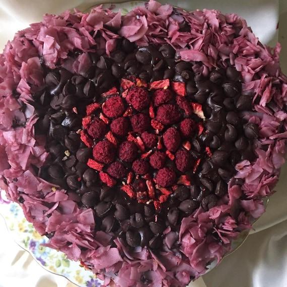 Vegan Dark  Chocolate chips raspberry coconut walnut carmel Love cake!