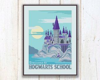 Welcome to Hogwarts School Cross Stitch Pattern, Hogwarts School Pattern, Harry Potter Pattern, Modern Cross Stitch, Download PDF #hp017