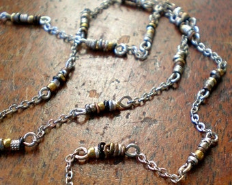 Link Chain Mixed Metal Any length up to 24 Inches - DoriJenn - Unique Chain - Mixed Metal Beads - Boho Necklace - Bohemian Beach Jewelry
