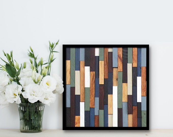 """Reclaimed Wood Art 12""""x12""""- """"Sea Crest"""" in Browns, Blues, Green, and White Stripes - Modern Wood Wall Art - Abstract Art"""