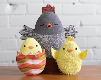 Spring Chickens PDF Sewing Embroidery Pattern