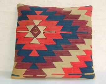 "ANTIQUE Colorful Handwoven Turkish Kilim Pillow Cover 16""x16"",Tribal Pillow,Vintage Pillow,Throw Pillow."