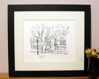 London Sketch Art Print, Sloane Square Sketch, UK City Print, Wall Decor, Housewarming Gift, Birthday Gift, Holiday Gift, For Her, For Him