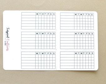 Bullet Journal sticker, weekly habit tracker, blank tracker, bullet journal, planning sticker, planner sticker