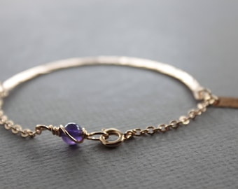 Rose gold tone bronze half bangle bracelet with amethyst stone - Amethyst bracelet - Bangle bracelet - Birthstone bracelet - BR006