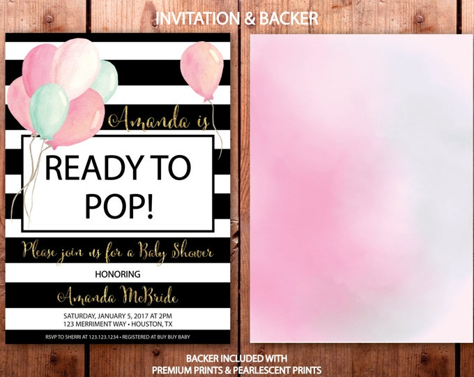Ready to Pop Baby Shower Invitation / Balloon Invitation / Watercolor / It's a Girl / Pink // Modern // Gold Glitter // HOUSTON COLLECTION