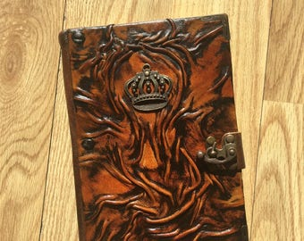 Leather Journal, Leather Notebook, Embossed Leather, Crown Emblem, Gift Idea