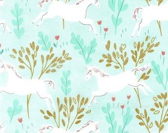 Forêt de licorne magique avec coton métallisé Aqua du tissu Michael Miller de Sarah Jane par la Cour de la moitié