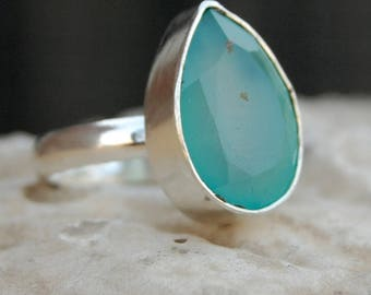 Chalcedony Ring, Pear faceted aqua chalcedony sterling silver ring, chalcedony Solid silver ring Jewelry